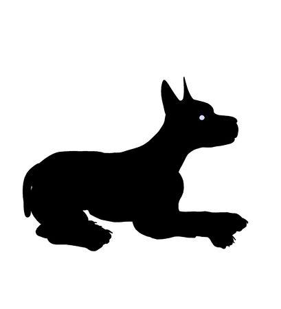 Zwarte puppy hond kunst illustratie silhouet op een witte achtergrond
