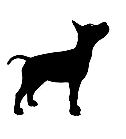 Black puppy dog art illustration silhouette on a white background 스톡 콘텐츠