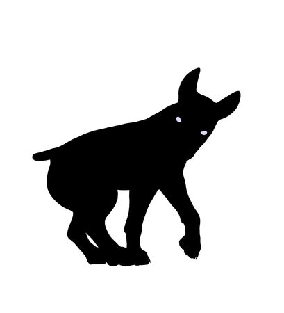 fop: Black puppy dog art illustration silhouette on a white background Stock Photo