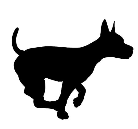whelps: Black puppy dog art illustration silhouette on a white background Stock Photo