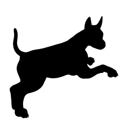 흰색 배경에 검은 강아지 강아지 예술 일러스트 실루엣