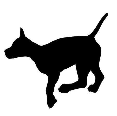 Zwarte puppy honden kunst illustratie silhouet op een witte achtergrond