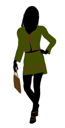 A girl silhouette fashionably dressed in a green outfit on a white background 版權商用圖片
