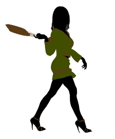 fashionably: A girl silhouette fashionably dressed in a green outfit on a white background Stock Photo