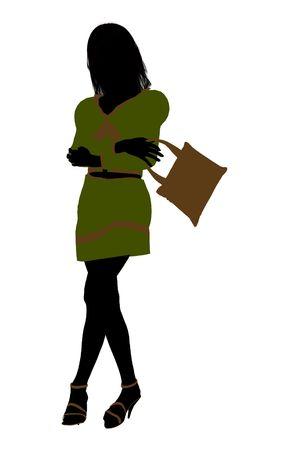 Een meisje silhouet fashionably gekleed in een groene outfit op een witte achtergrond