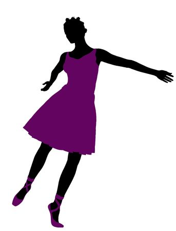 bellydancer: African american female ballerina illustration silhouette on a white background Stock Photo