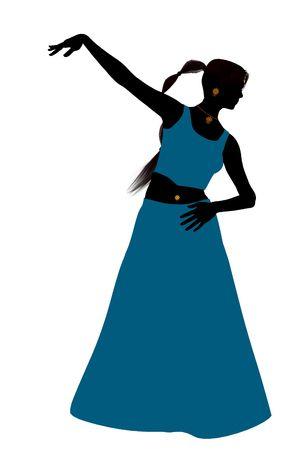 白い背景の上の女性のベリー ダンサーの図シルエット