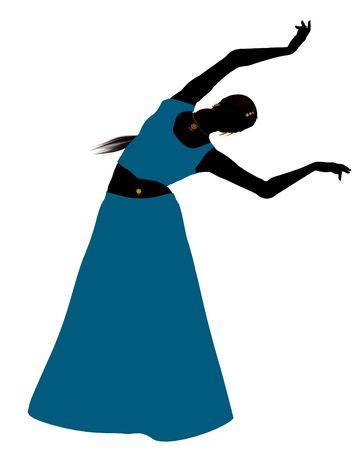 白い背景の上のベリー ダンサーの女性イラスト シルエット
