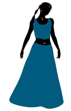 belly dancer: Female belly dancer illustration silhouette on a white background