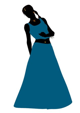 Female belly dancer illustration silhouette on a white background
