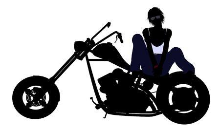 dirt bike: A female biker silhouette on a white background