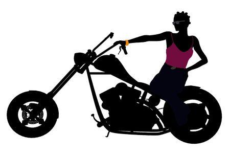 dirt bike: An african american female biker silhouette on a white background
