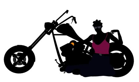 An african american female biker silhouette on a white background