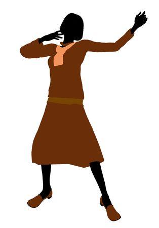 erhaltend: Konservative weiblichen Illustration Silhouette auf einem wei�en Hintergrund