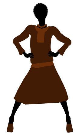 erhaltend: Konservative afrikanischen amerikanischen weiblichen Illustration Silhouette auf einem wei�en Hintergrund