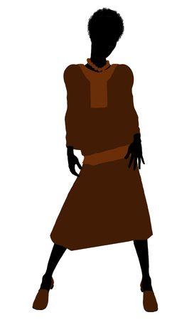 erhaltend: Konservativer african american female Abbildung Silhouette on a white background Lizenzfreie Bilder