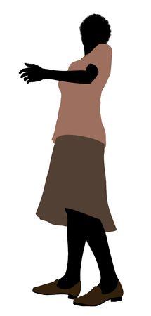 Grootmoeder silhouet illustratie op een witte achtergrond