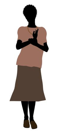 Grandmother silhouette illustration on a white background