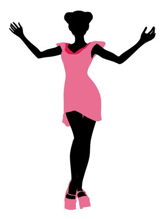 fashionably: A girl silhouette fashionably dressed in a pink dress on a white background