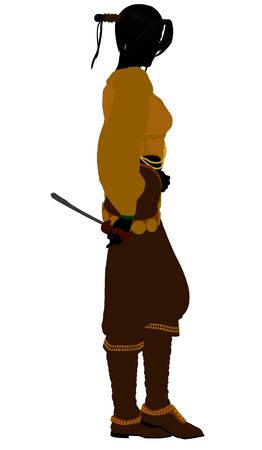 voyager: A Female pirate silhouette on a white background