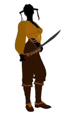 Een vrouwelijke piraat silhouet op een witte achtergrond