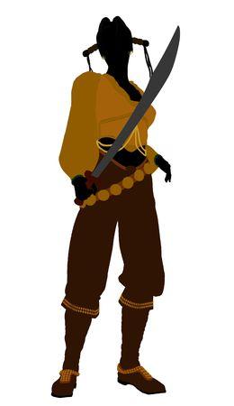 marauder: A Female pirate silhouette on a white background