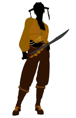 opportunist: A Female pirate silhouette on a white background