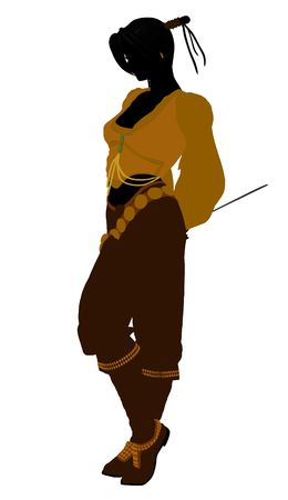 privateer: A Female pirate silhouette on a white background