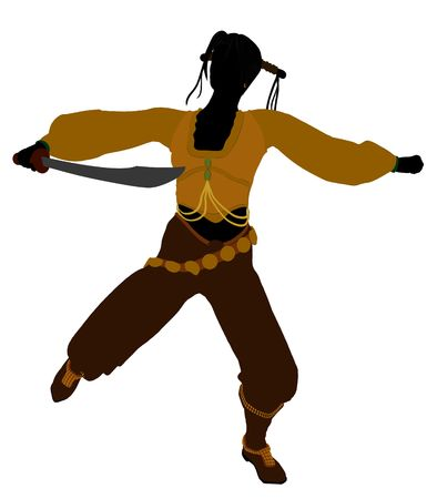 wanderer: A Female pirate silhouette on a white background