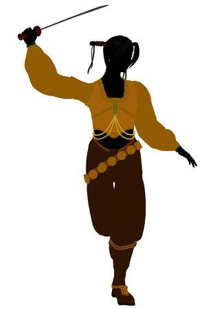 Het silhouet van een vrouwelijke piraat op een witte achtergrond  Stockfoto