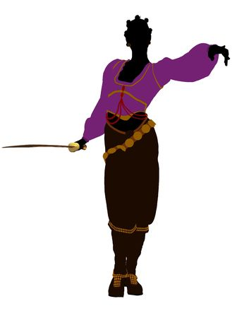 marauder: African american female pirate silhouette on a white background