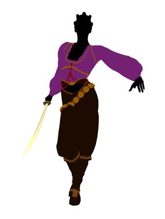 wanderer: African american female pirate silhouette on a white background