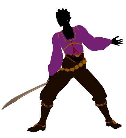 African american vrouwelijke piraat silhouet op een witte achtergrond