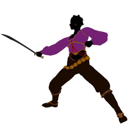 opportunist: African american female pirate silhouette on a white background