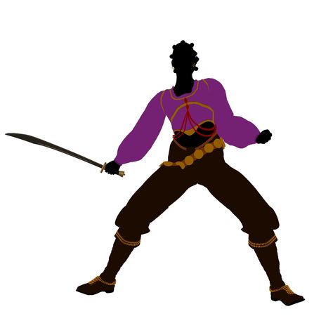 privateer: African american female pirate silhouette on a white background
