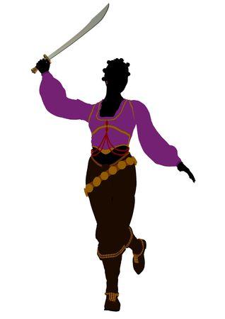 Silhouet van de Afrikaanse Amerikaanse vrouwelijke piraat op een witte achtergrond