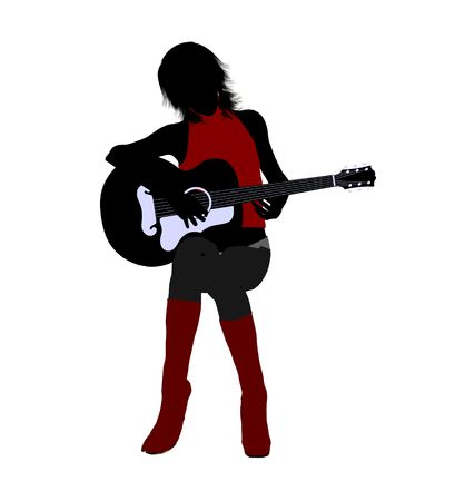 A female musician silhouette illustration on a white background Stok Fotoğraf