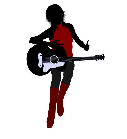 soloist: A female musician silhouette illustration on a white background Stock Photo
