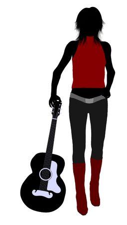 Eine weibliche Musiker-Silhouette-Abbildung auf weißem Hintergrund Standard-Bild - 5970149