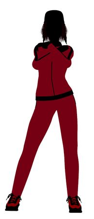 contestant: Female jogger silhouette dressed in a red sports suit on a white background