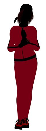 Silhouette f?minine joggeur rev?tu un costume de sports rouge sur un fond blanc  Banque d'images - 5969966
