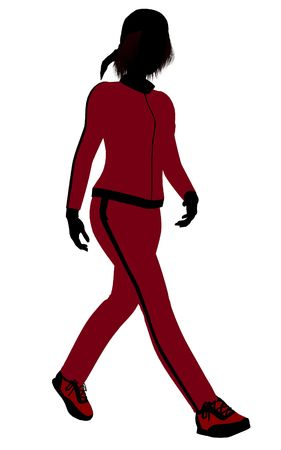 Female jogger silhouette dressed in a red sports suit on a white background