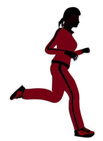 Silhouette féminine joggeur revêtu un costume de sports rouge sur un fond blanc Banque d'images - 5970136