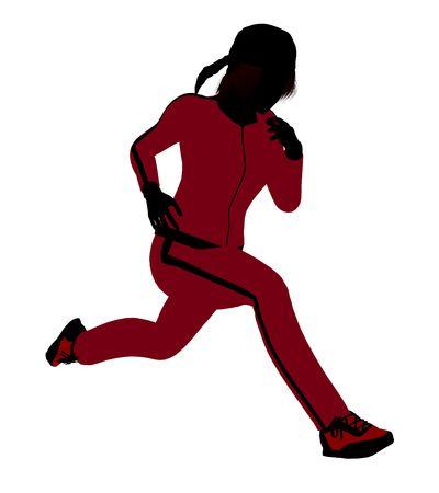 Silhouette féminine joggeur revêtu un costume de sports rouge sur un fond blanc Banque d'images - 5970165