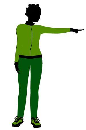 African american joggeur femelles silhouette revêtu un costume de sports vert sur un fond blanc Banque d'images - 5969859