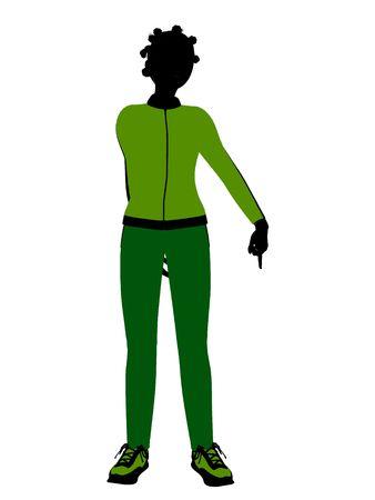 African american joggeur femelles silhouette revêtu un costume de sports vert sur un fond blanc  Banque d'images - 5970082