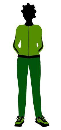African american joggeur femelles silhouette revêtu un costume de sports vert sur un fond blanc Banque d'images - 5970161
