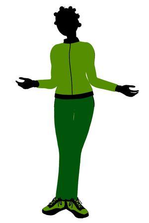 African american joggeur femelles silhouette rev?tu un costume de sports vert sur un fond blanc Banque d'images - 5969729