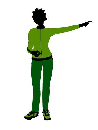 African american joggeur femelles silhouette revêtu un costume de sports vert sur un fond blanc Banque d'images - 5969956