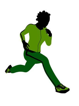 female jogger: Silueta de africano americano jogger Femenino vestido con un traje verde deportes sobre un fondo blanco Foto de archivo